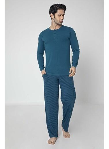 Aydoğan Erkek Modal Altı Desenli Üstü Düz Pijama Takımı Renkli